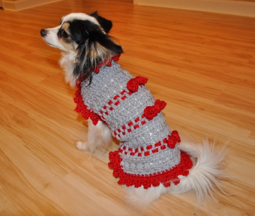 Ribbons and Bows Crochet Small Dog Sweater