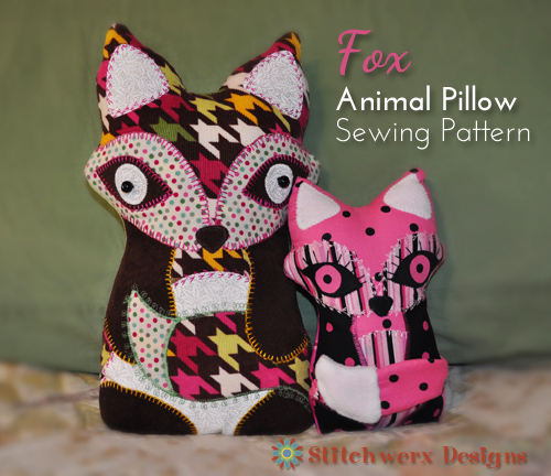 Fox Animal Pillow Sewing Pattern from Stitchwerx Designs