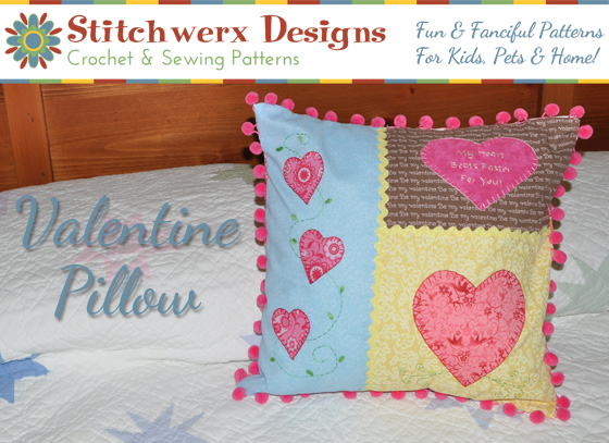 Free Valentine Heart Applique Pillow Sewing Pattern