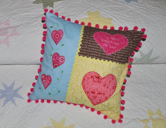 Finished Valentine Heart Applique Throw Pillow