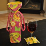 Wine Bottle Gift Bag and Slip on Wine Glass Coaster with Charms