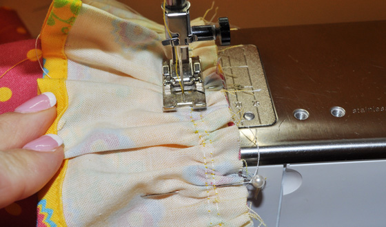 Stitch Seam Attaching Ruffle to Garment