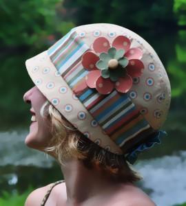 Stitchwerx Designs Cloche Hat in Retro Garden Naturals fabric