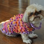 Bella Wearing the Tiny Bobbles and Frills Crochet Sweater from Stitchwerx Designs