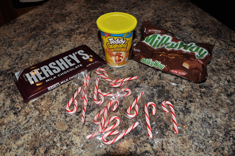 Milky Way Bar, Teddy Graham, Candy Cane Sleigh Supplies