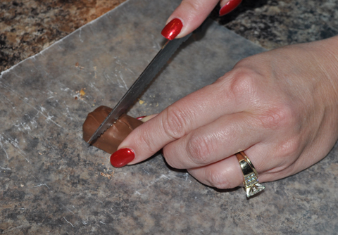 Cut Milky Way Fun Size bars in half