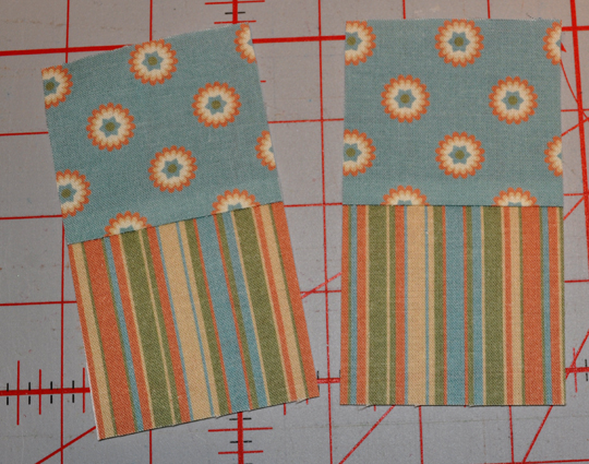 "Cut joined strips into 2 1/2"" wide sections"