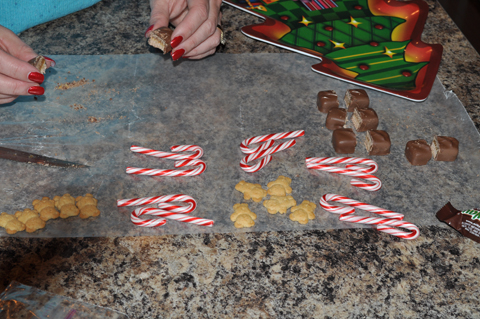 Milky Way bar, Teddy Grahams, Candy Cane Sleigh Supplies