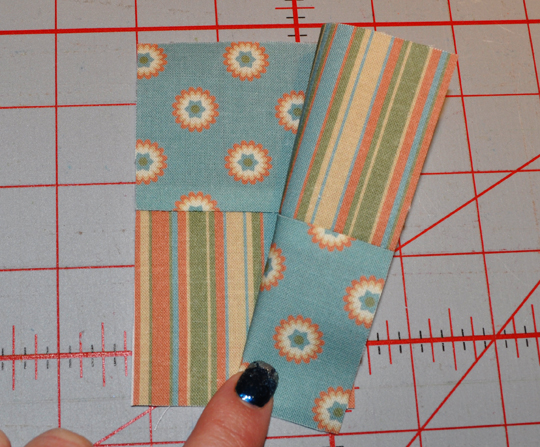 Place sections together, matching center seams and forming a checkerboard square