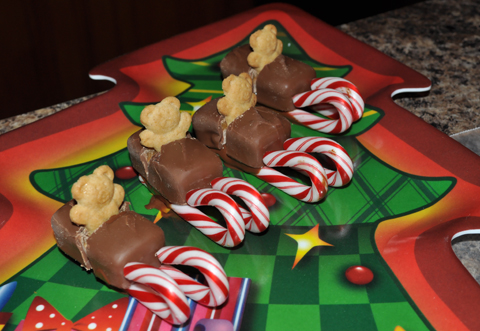Milky Way Bar Teddy Graham Candy Cane Sleighs