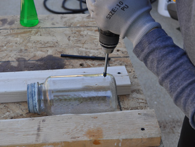 Drilling the Hole In the Glass Jar Outside on my Workbench