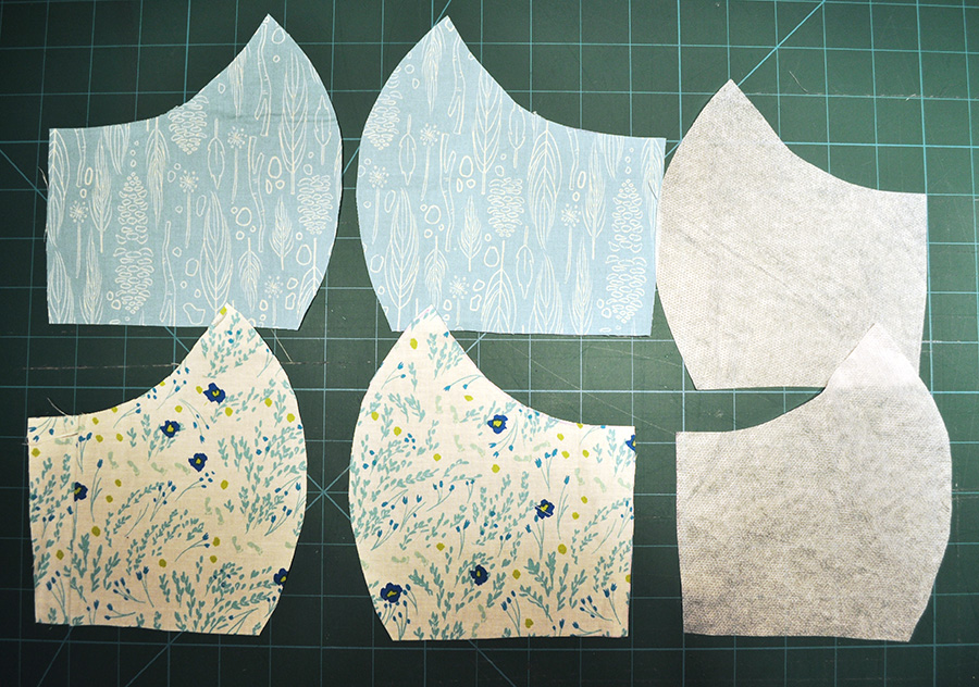 Face mask pattern pieces cut out